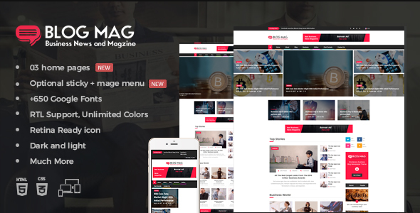 Blog mag bootstrap business news and magazine responsive template by blog mag bootstrap business news and magazine responsive template entertainment site templates wajeb Images