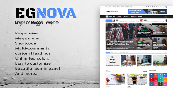 Egnova News Magazine Responsive Blogger Template By Themelet