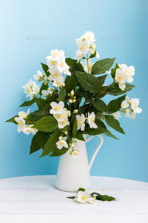 Fresh Jasmine Flowers In A Vase Stock Photo By Lanam Photodune