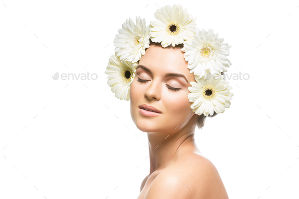 Beautiful girl with white flowers on head stock photo by svetography mightylinksfo