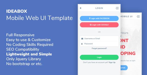 ideabox mobile web ui template by tgundogdu themeforest