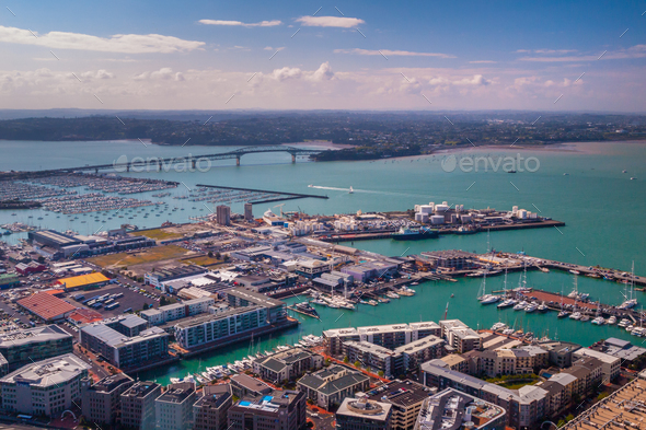 Auckland industrial harbor aerial view Stock Photo by ...