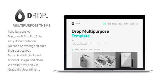 Drop  Multipurpose Responsive Cover Page  Multipage High Quality
