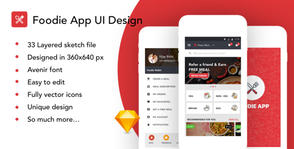 Foodie food order app ui kit by imvj themeforest