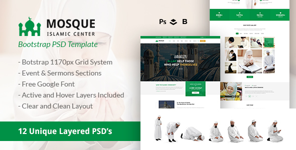 Mosque - Islamic Center Bootstrap PSD Template by webstrot | ThemeForest