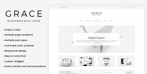 grace minimal wordpress blog theme by lucidthemes themeforest