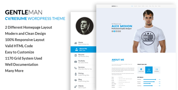 GentleMan  VCard U0026 CV Resume WordPress Theme By Codexcoder | ThemeForest  Wordpress Resume Themes