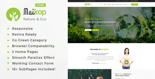maikop environment non profit html template by tonatheme