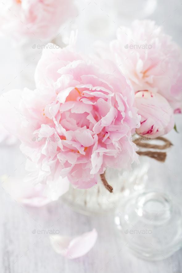 Beautiful pink peony flowers bouquet in vase stock photo by duskbabe mightylinksfo