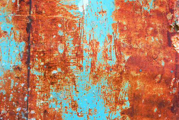 teal and orange grunge rusty metal surface texture stock photo by