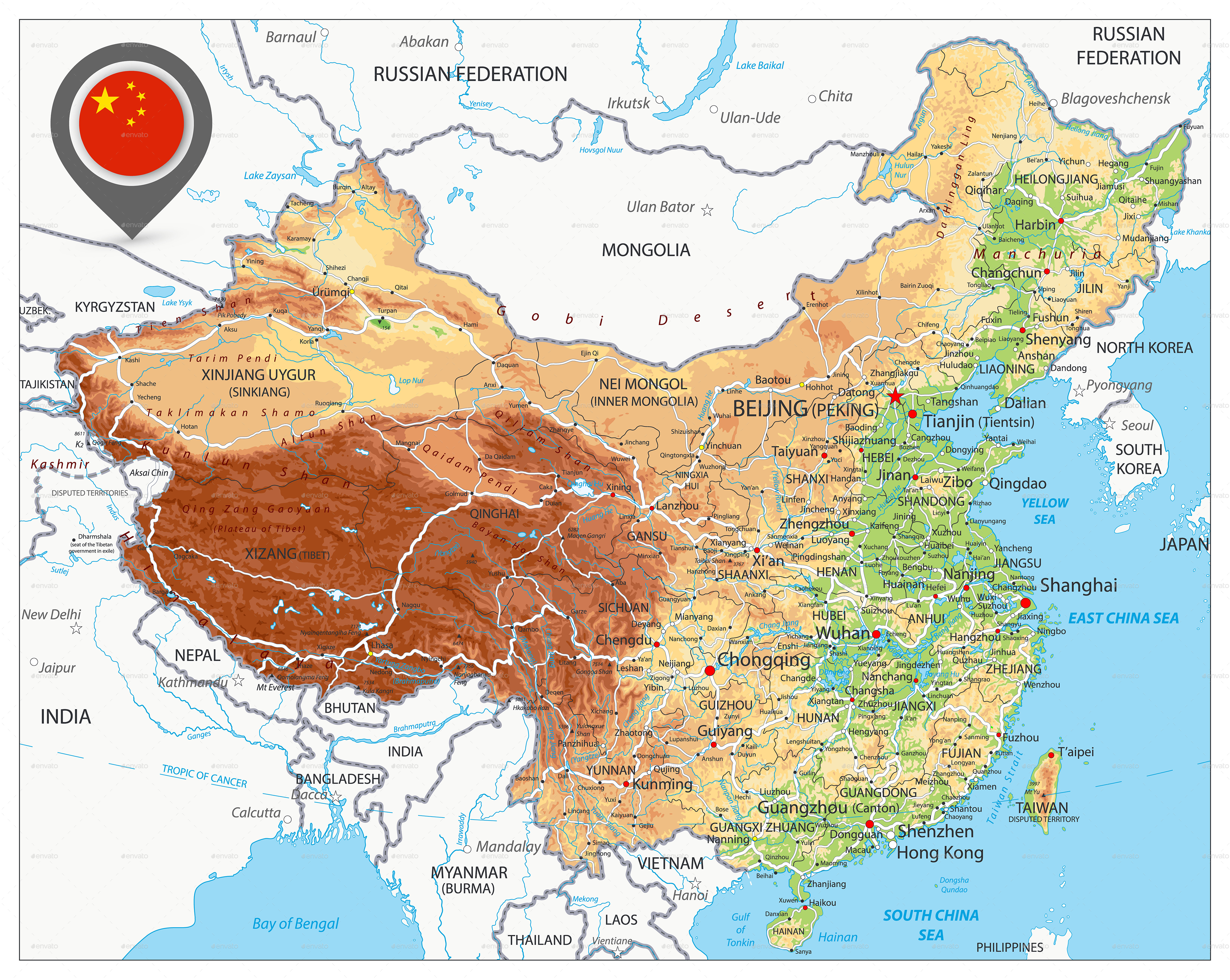 China Physical Map By Cartarium Graphicriver