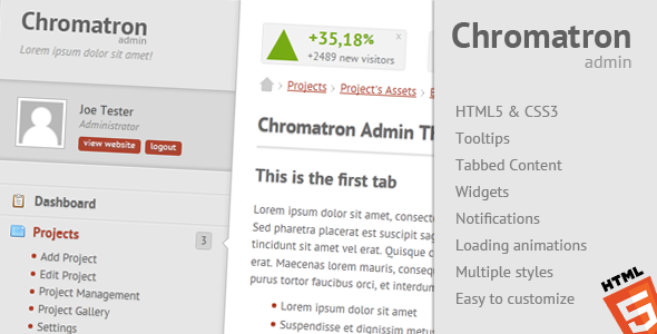 ThemeForest - Chromatron HTML5 Admin Backend - RIP