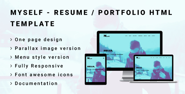 myself resume or portfolio html template by awesomethemez