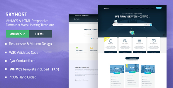 SKYHOST - WHMCS & HTML Responsive Domain & Web Hosting Template by ...