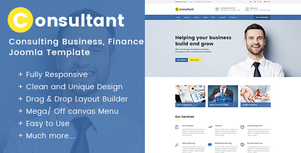 Consulting Business, Finance Joomla Template - Consultant by ...
