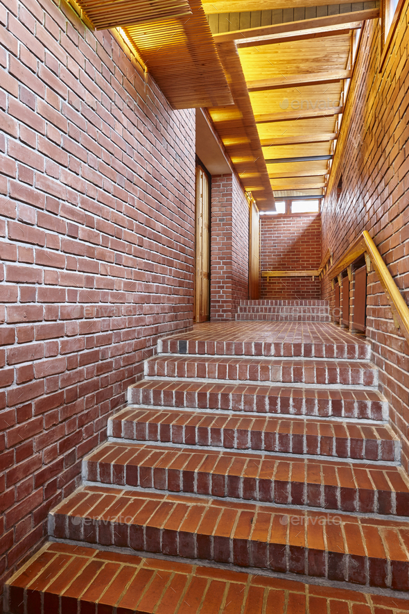 awesome red brick wall interior design | Red brick walls and staircase corridor. Architecture ...