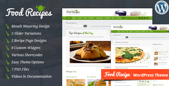 Food recipes wordpress theme by inspirythemes themeforest food recipes wordpress theme food retail forumfinder Gallery