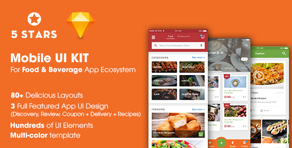 5stars mobile ui kit for food beverage app ecosystem by ntmediasoft 5stars mobile ui kit for food beverage app ecosystem sketch templates forumfinder Gallery