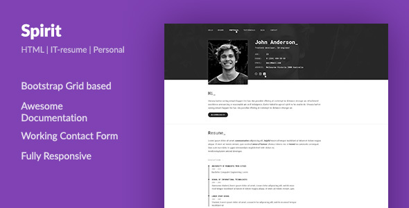Spirit  Portfolio  Resume Html Template For Developers