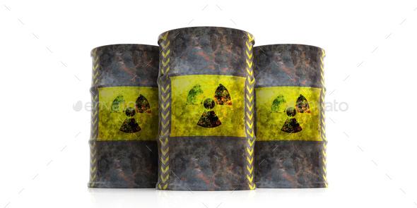 Radiation Symbol On Oil Barrels White Background 3d Illustration