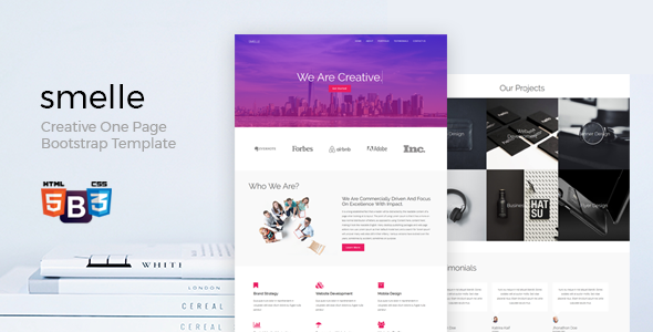 smelle creative one page bootstrap template by wordpressboss