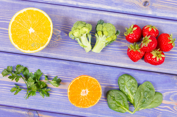 Fruits and vegetables containing vitamin c and minerals healthy fruits and vegetables containing vitamin c and minerals healthy lifestyle and nutrition concept stock workwithnaturefo