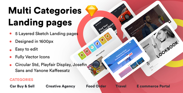 Multi Categories Web Design Template for Startups - Sketch Template ...