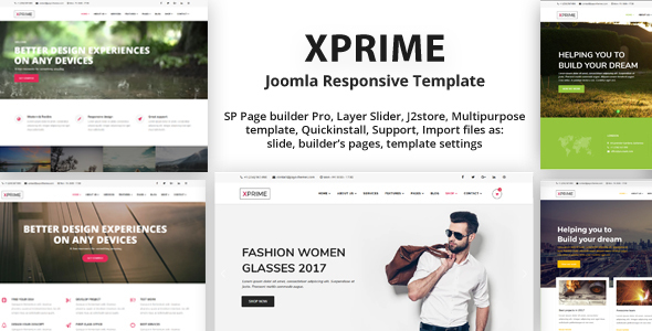 Xprime responsive multipurpose joomla theme with 60 for Joomla template builder software