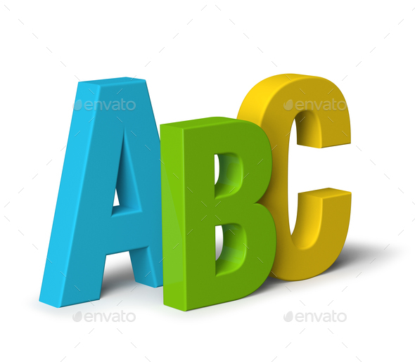 colour letters abc isolated on white 3d stock photo by anterovium