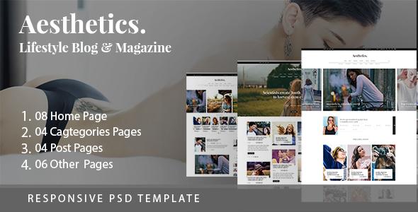 aesthetics lifestyle blog magazine psd template by themexlab themeforest. Black Bedroom Furniture Sets. Home Design Ideas