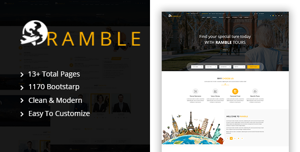 ramble tour travel agency html template by codecarnival themeforest