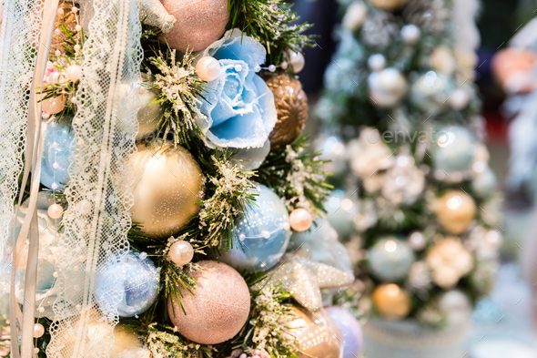 christmas tree decorated with blue and gold balls stock photo images - Blue And Gold Christmas Tree Decorations