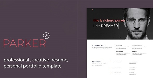 Parker | Personal Portfolio /CV / Resume Template   Virtual Business Card  Personal  Resume Portfolio Template