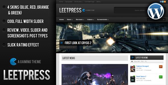 ThemeForest - LeetPress - A Gaming WordPress Theme - HOT!