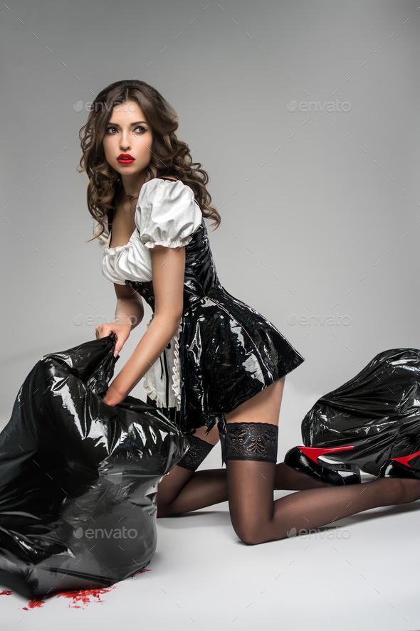 girls in black latex