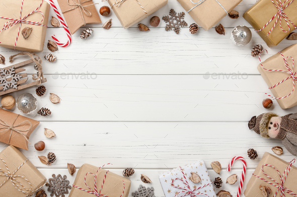 Christmas decoration and gift boxes background stock photo by ff photo christmas decoration and gift boxes background stock photo images negle Images