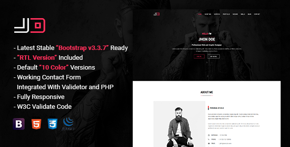 jd responsive personal vcard cv resume template by themelooks