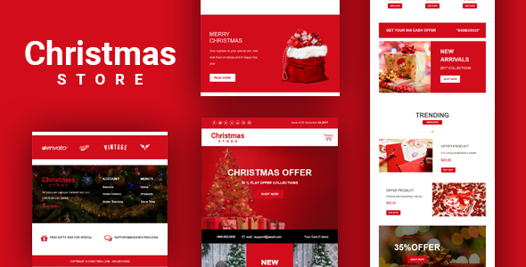 Christmas Store Email Template + Online Builder by DesignCrazzy ...