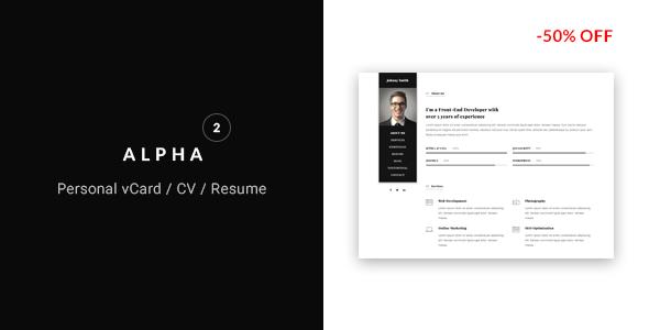 alpha vcard cv resume template by flatheme themeforest