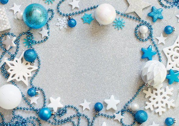silver and turquoise christmas decorations stock photo by katrinshine