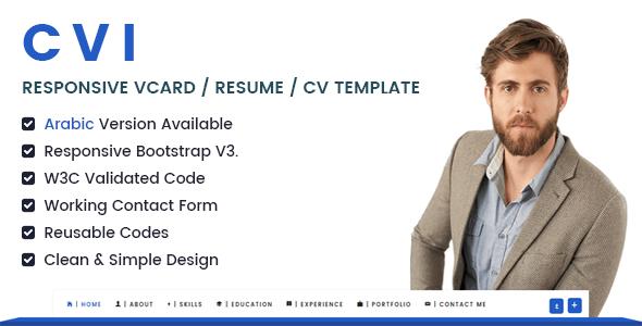 Cvi   Responsive vCard  Resume