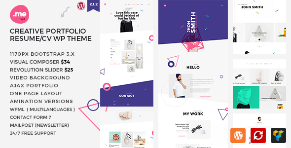 me creative portfolio resume cv wordpress theme by m adnan