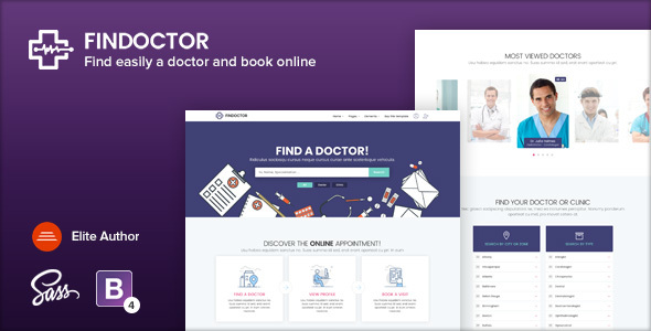 findoctor doctors directory and book online template by ansonika