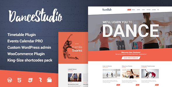 Dance Studio - WordPress Theme for Dancing Schools & Clubs by cmsmasters