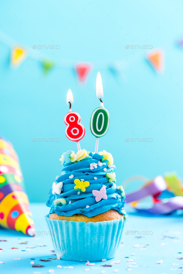 Eightieth 80th Birthday Cupcake With Candle Card Mockup Stock
