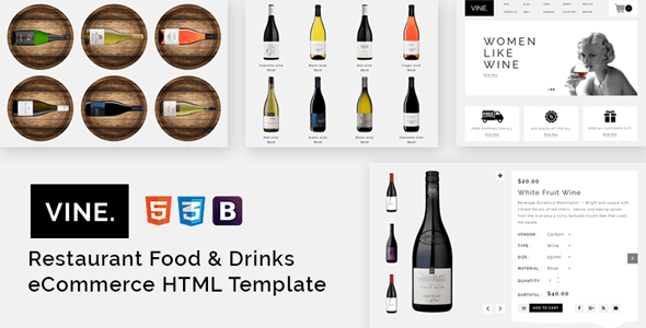 vine restaurant food drinks ecommerce html template by ennop