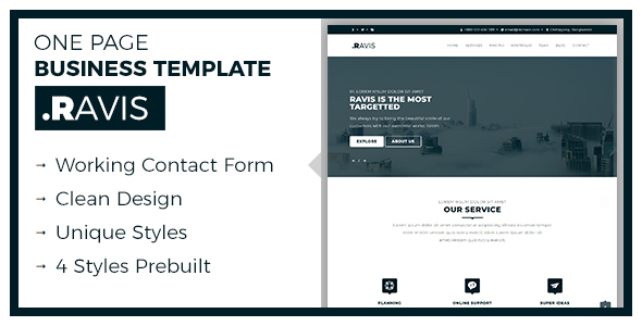 Ravis one page responsive business template by themered themeforest ravis one page responsive business template business corporate accmission Images