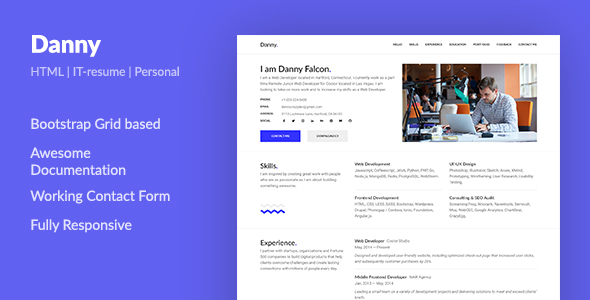 Danny  Web Developer Resume Html Template By Aspirity  Themeforest