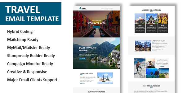 Travel Multipurpose Responsive Email Template With Online - Hybrid email template