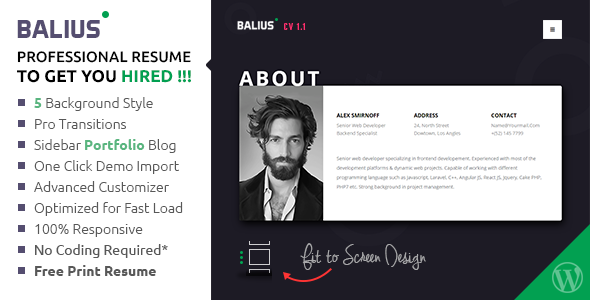 balius resume and vcard wordpress theme by themecop themeforest